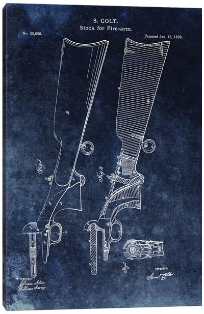 S. Colt Stock For Fire-Arm Patent Sketch (Vintage Blue) Canvas Art Print