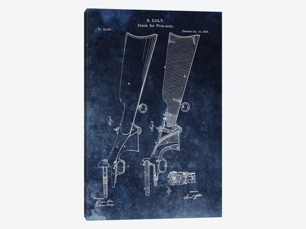 S. Colt Stock For Fire-Arm Patent Sketch (Vintage Blue) by Dan Sproul 1-piece Canvas Art Print
