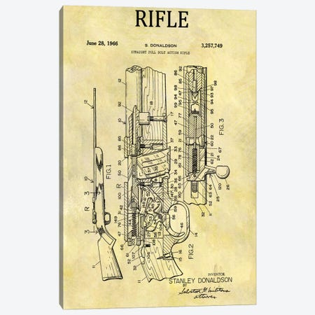 S. Donaldson Straight Full Bolt Action Rifle Patent Sketch (Foxed) Canvas Print #DSP62} by Dan Sproul Canvas Art
