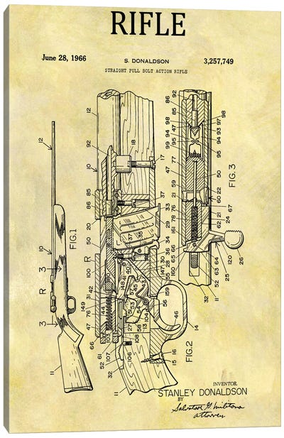 S. Donaldson Straight Full Bolt Action Rifle Patent Sketch (Foxed) Canvas Art Print