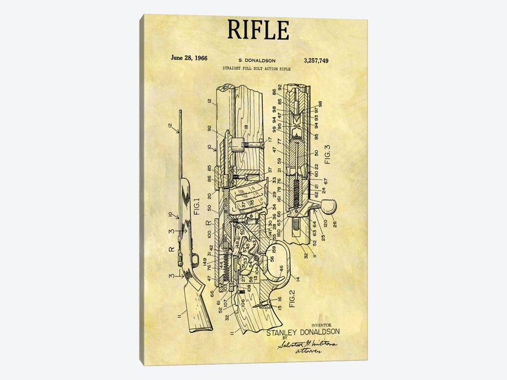 S. Donaldson Straight Full Bolt Action Rifle Patent Sketch (Foxed) by Dan Sproul 1-piece Canvas Artwork
