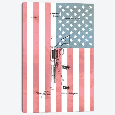 S. Remington Revolver Patent Sketch (Stars & Stripes) Canvas Print #DSP63} by Dan Sproul Canvas Art