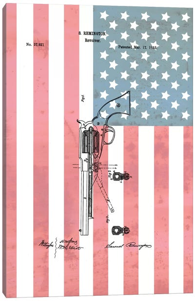 S. Remington Revolver Patent Sketch (Stars & Stripes) Canvas Print #DSP63