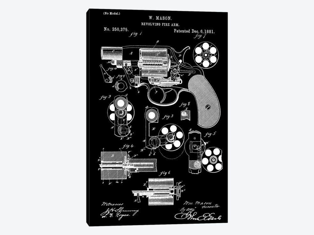 W. Mason Revolving Fire Arm Patent Sketch (Black) by Dan Sproul 1-piece Canvas Art