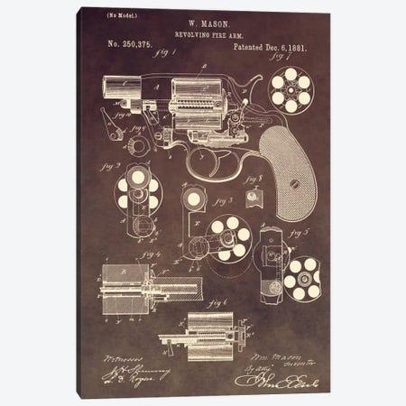 W. Mason Revolving Fire Arm Patent Sketch (Vintage Brown) Canvas Print #DSP65} by Dan Sproul Art Print