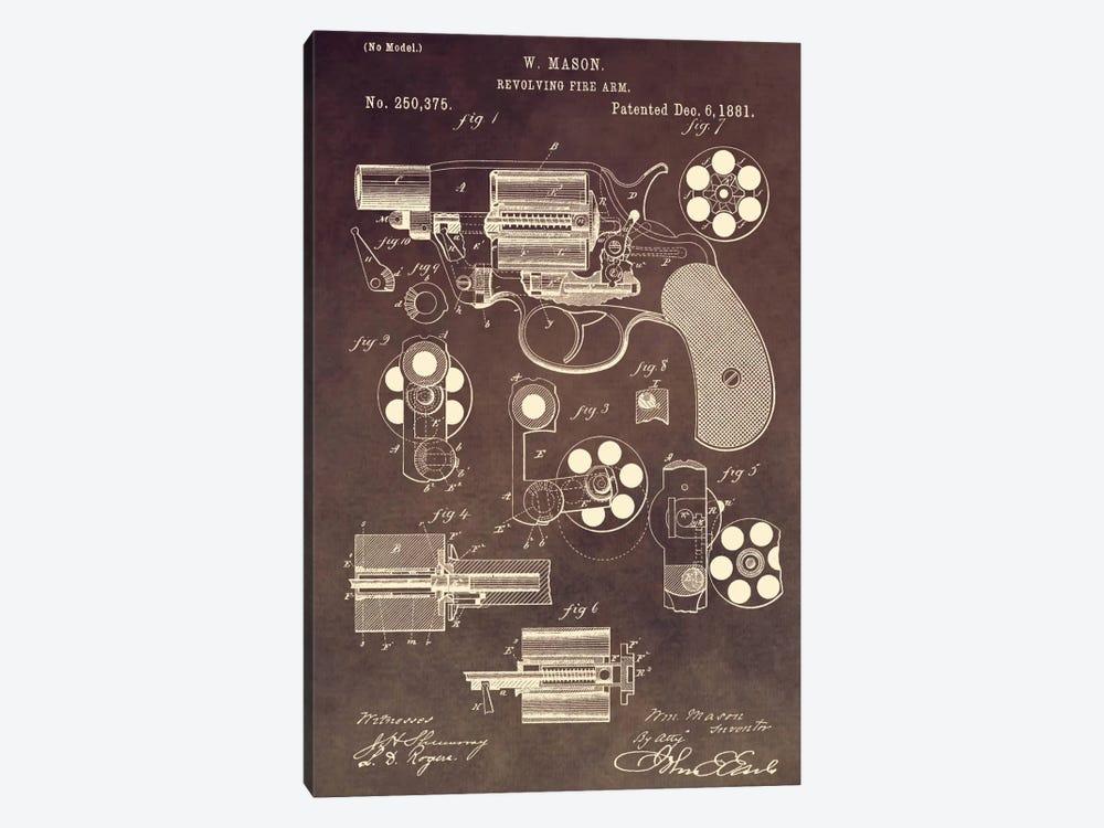 W. Mason Revolving Fire Arm Patent Sketch (Vintage Brown) by Dan Sproul 1-piece Canvas Print