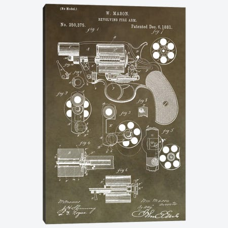 W. Mason Revolving Fire Arm Patent Sketch (Vintage Green) Canvas Print #DSP66} by Dan Sproul Art Print