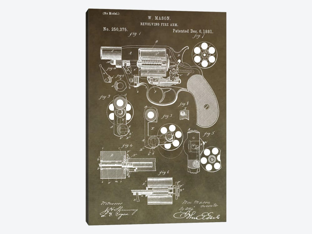W. Mason Revolving Fire Arm Patent Sketch (Vintage Green) by Dan Sproul 1-piece Canvas Wall Art