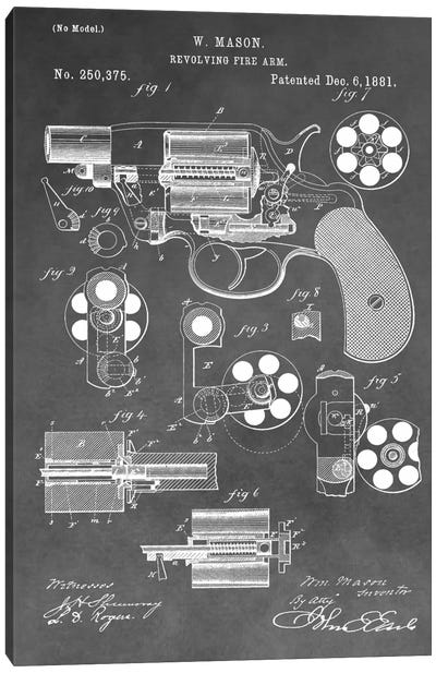 W. Mason Revolving Fire Arm Patent Sketch (Vintage Grey) Canvas Art Print