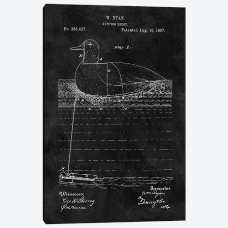 W. Ryan Hunting Decoy Patent Sketch (Chalkboard) Canvas Print #DSP68} by Dan Sproul Canvas Wall Art
