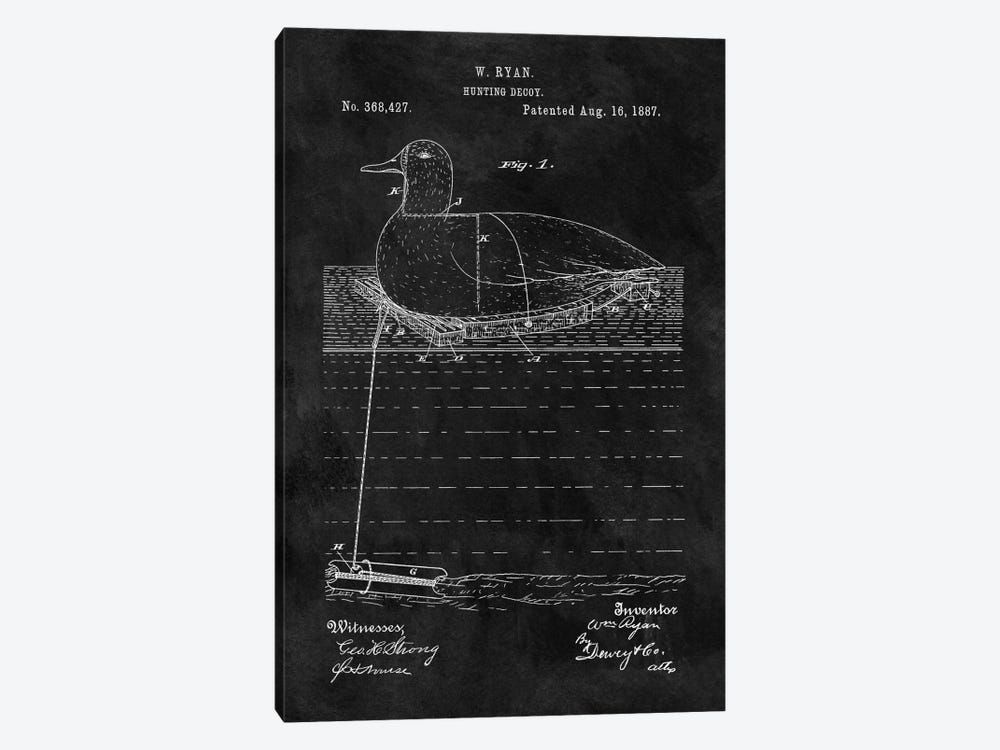 W. Ryan Hunting Decoy Patent Sketch (Chalkboard) by Dan Sproul 1-piece Canvas Artwork