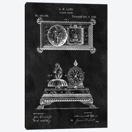 A.M. Lane Alarm Clock Patent Sketch (Chalkboard) Canvas Print #DSP6} by Dan Sproul Canvas Art Print