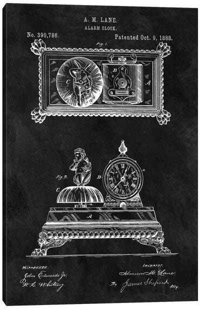 A.M. Lane Alarm Clock Patent Sketch (Chalkboard) Canvas Art Print