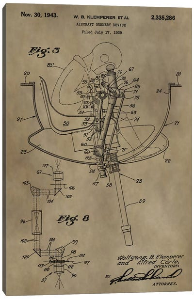 W.B. Klemperer Aircraft Gunnery Device Patent Sketch (Antique) Canvas Print #DSP70
