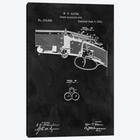 W.T. Davis Three Barreled Gun Patent Sketch (Chalkboard) Canvas Print #DSP71} by Dan Sproul Canvas Print