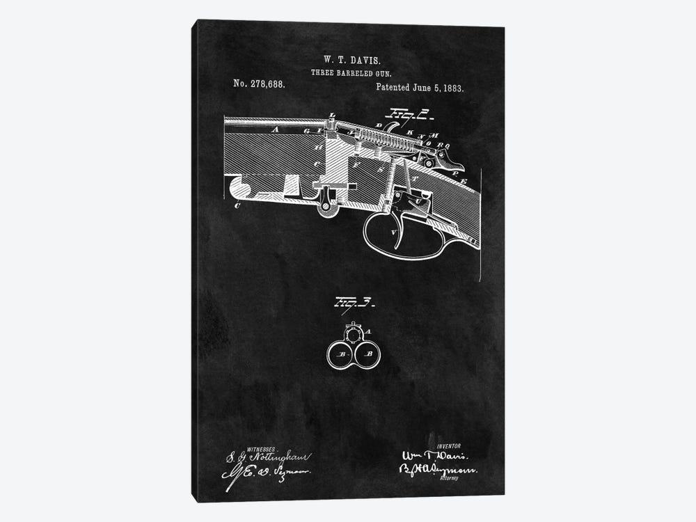 W.T. Davis Three Barreled Gun Patent Sketch (Chalkboard) by Dan Sproul 1-piece Canvas Wall Art