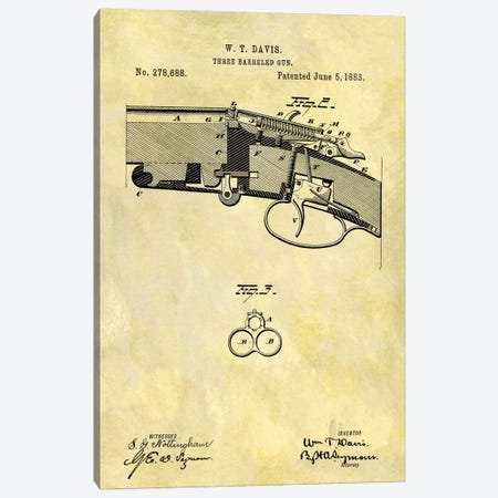 W.T. Davis Three Barreled Gun Patent Sketch (Foxed) Canvas Print #DSP72} by Dan Sproul Canvas Art Print