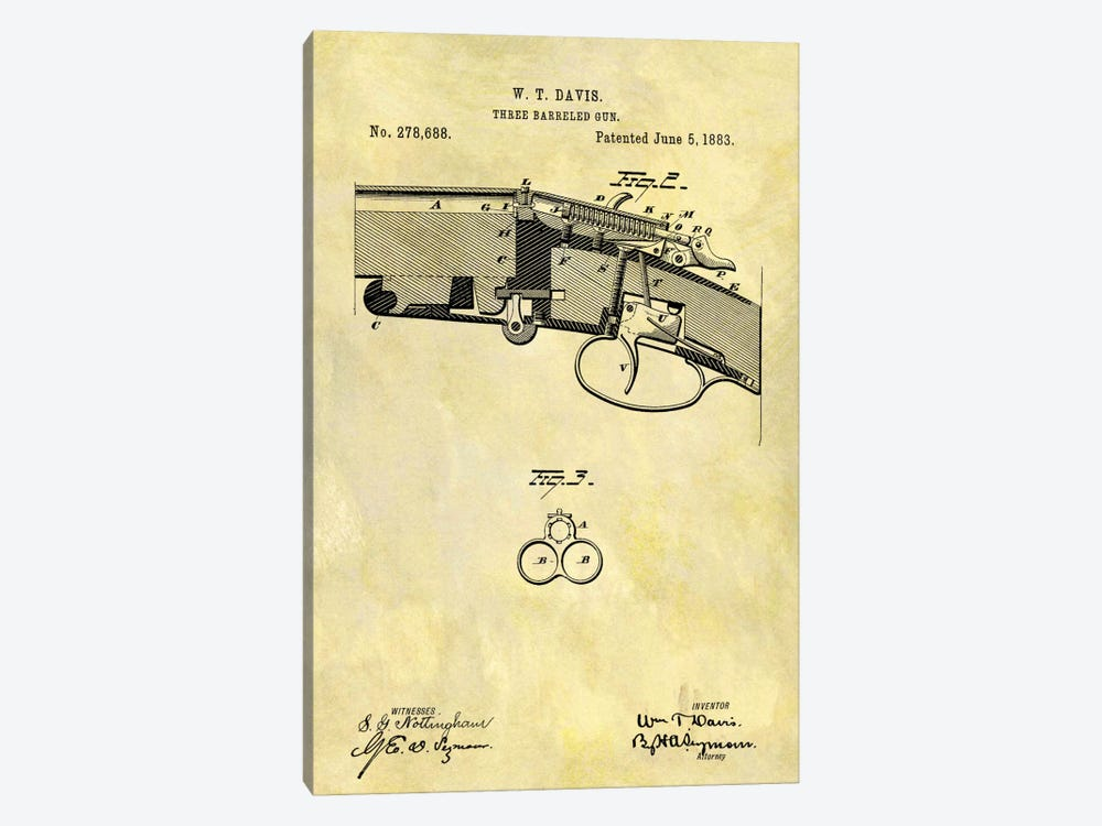 W.T. Davis Three Barreled Gun Patent Sketch (Foxed) by Dan Sproul 1-piece Canvas Print