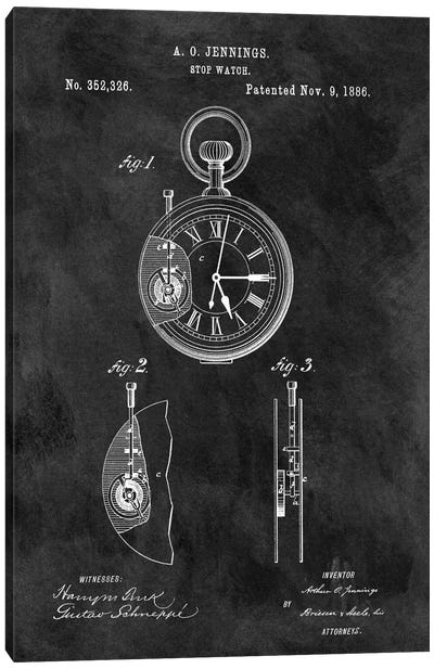 A.O. Jennings Stop Watch Patent Sketch (Chalkboard) Canvas Art Print