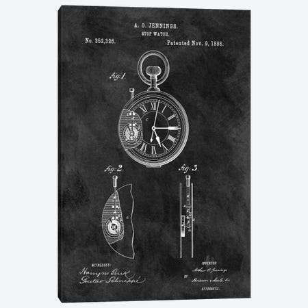 A.O. Jennings Stop Watch Patent Sketch (Chalkboard) 3-Piece Canvas #DSP8} by Dan Sproul Canvas Art