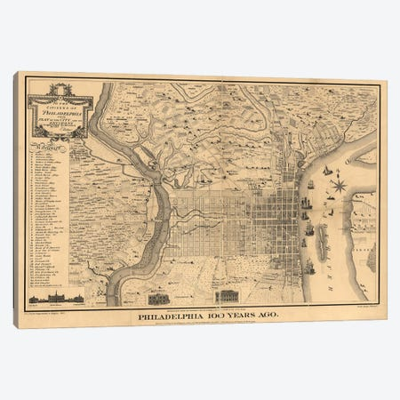 Philadelphia 100 Years Ago Map, 1875 Canvas Print #DSP93} by Dan Sproul Art Print