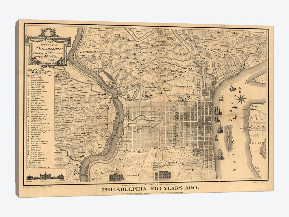 Philadelphia 100 Years Ago Map, 1875 by Dan Sproul 1-piece Canvas Art