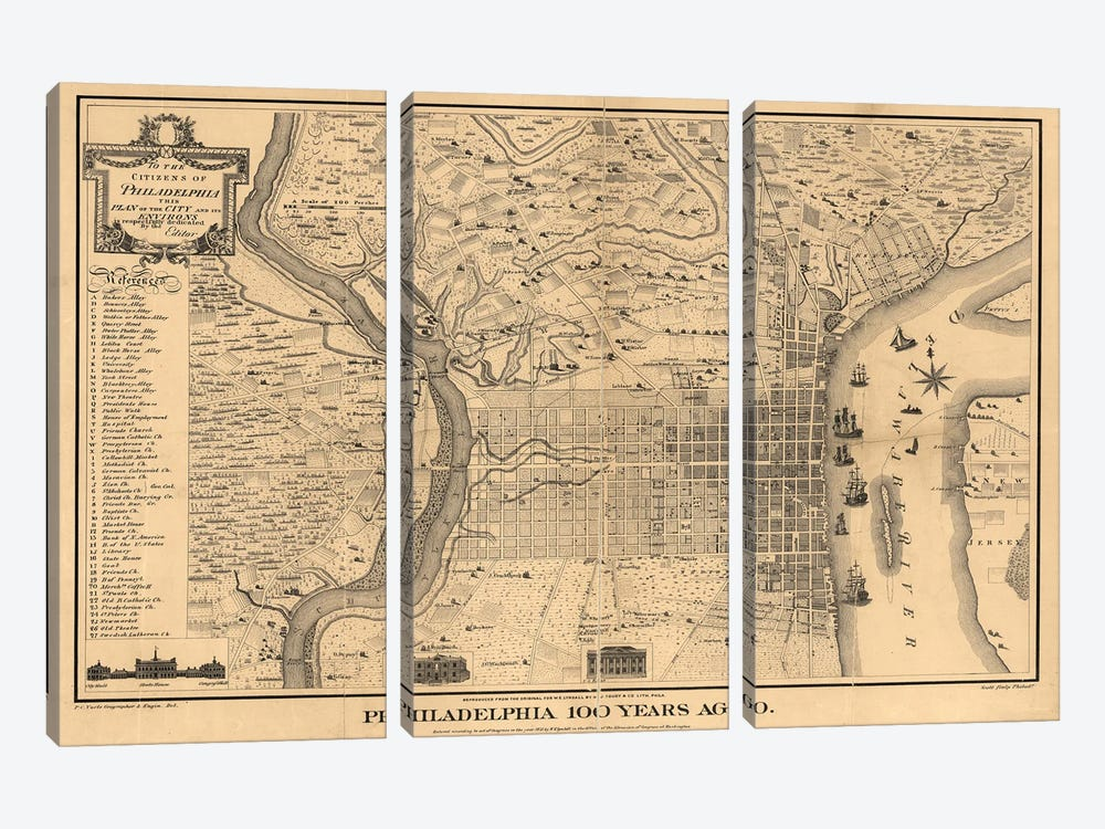 Philadelphia 100 Years Ago Map, 1875 by Dan Sproul 3-piece Canvas Art