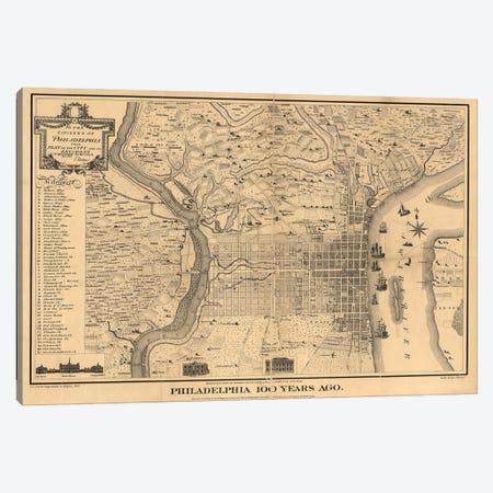 Philadelphia 100 Years Ago Map, 1875 Canvas Print #DSP93} by Dan Sproul Art Print