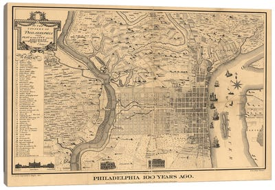 Philadelphia 100 Years Ago Map, 1875 Canvas Art Print