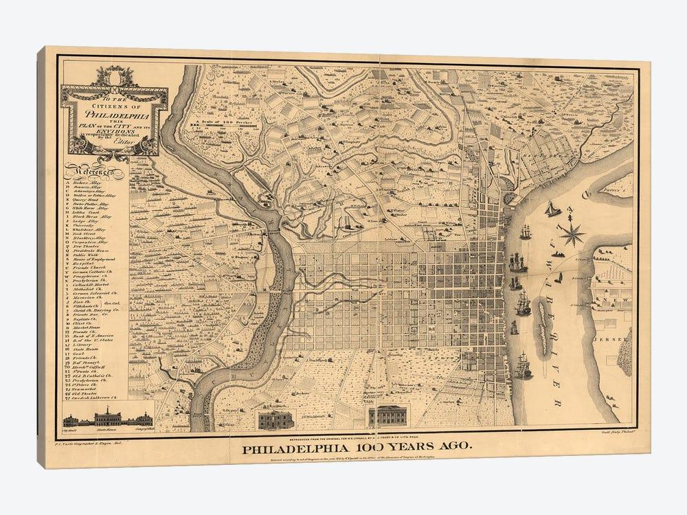 Philadelphia 100 Years Ago Map, 1875 by Dan Sproul 1-piece Canvas Art