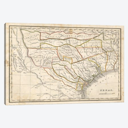 Texas Historical Map Canvas Print #DSP95} by Dan Sproul Canvas Artwork