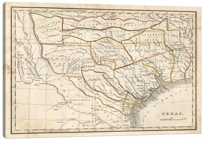 Texas Historical Map Canvas Art Print