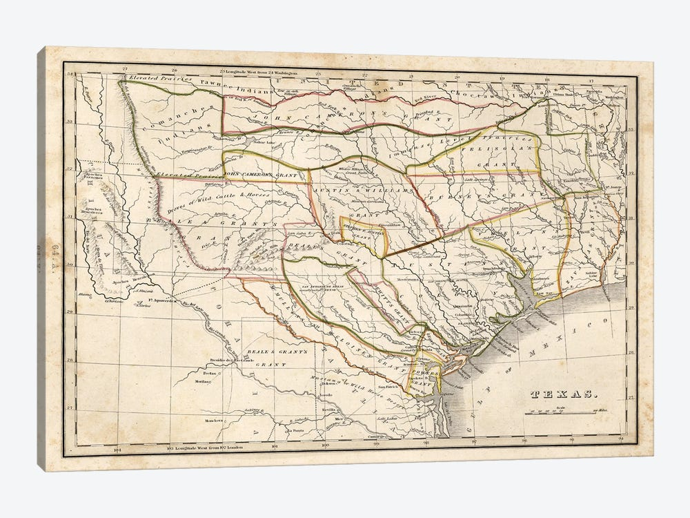 Texas Historical Map by Dan Sproul 1-piece Canvas Artwork
