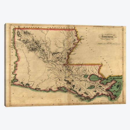 Vintage Louisiana Map Canvas Print #DSP96} by Dan Sproul Canvas Wall Art