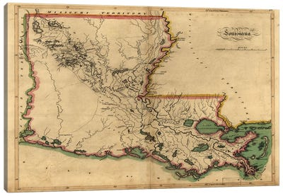 Vintage Louisiana Map Canvas Art Print