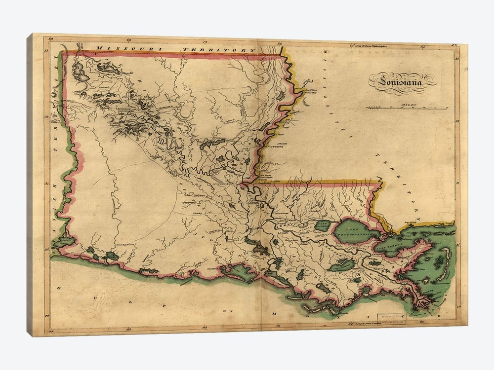 Vintage Louisiana Map by Dan Sproul 1-piece Art Print