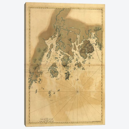 Vintage Map Of Maine Coast Canvas Print #DSP97} by Dan Sproul Canvas Art