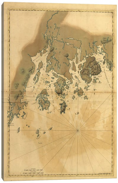 Vintage Map Of Maine Coast Canvas Art Print