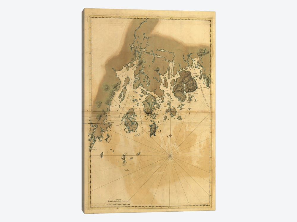 Vintage Map Of Maine Coast by Dan Sproul 1-piece Canvas Wall Art