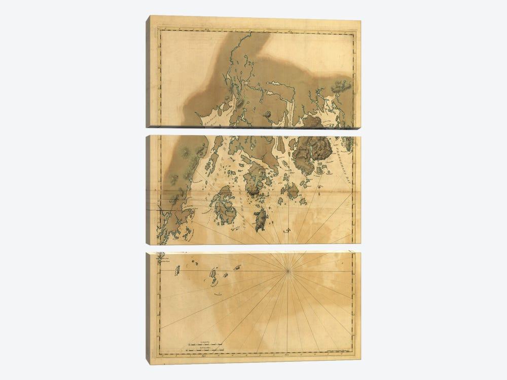 Vintage Map Of Maine Coast by Dan Sproul 3-piece Canvas Wall Art