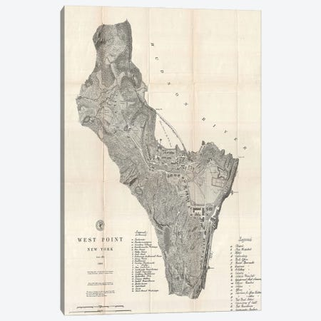 West Point, New York Map, 1883 Canvas Print #DSP98} by Dan Sproul Canvas Art Print