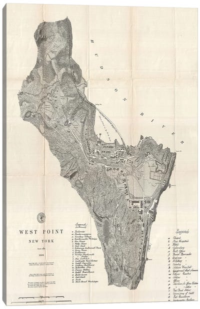 West Point, New York Map, 1883 Canvas Art Print
