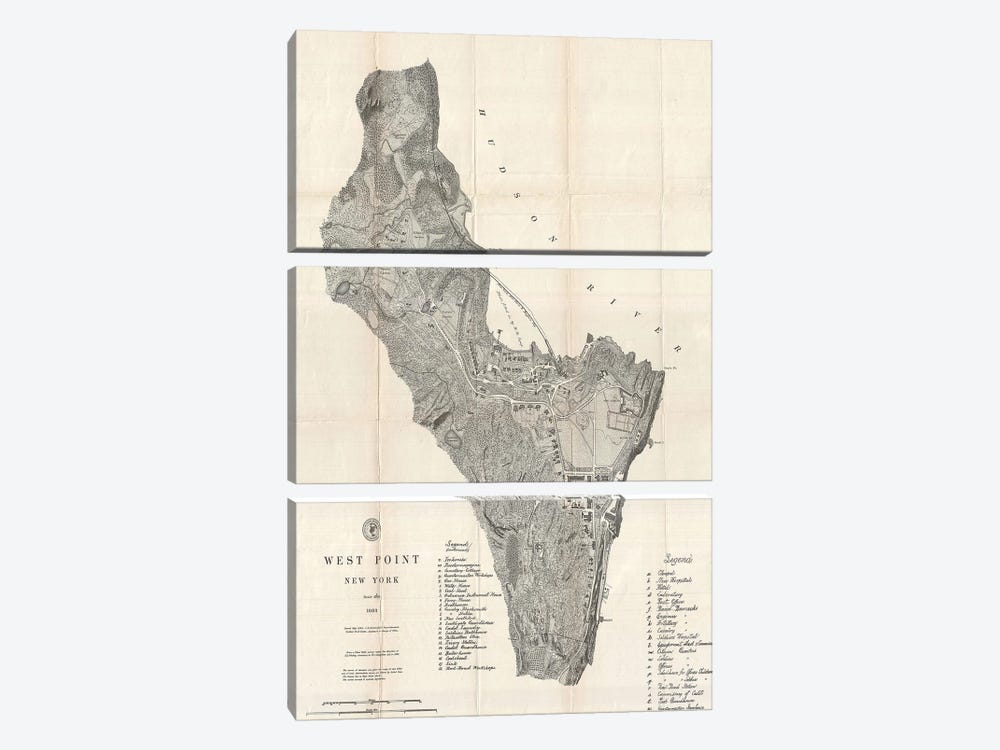 West Point, New York Map, 1883 by Dan Sproul 3-piece Canvas Art Print