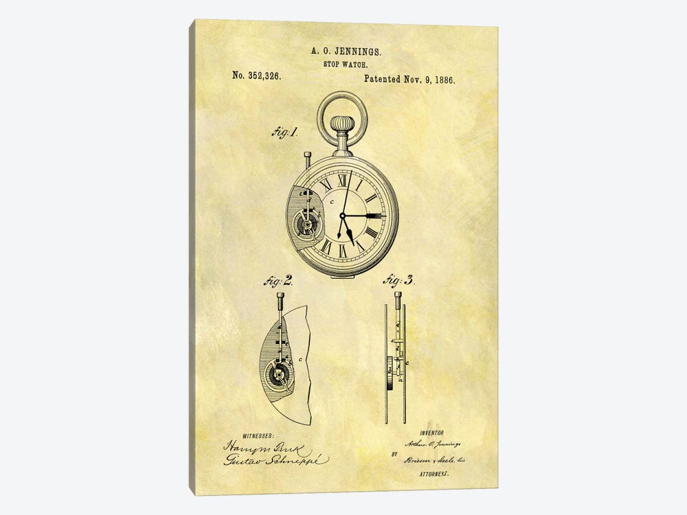 A.O. Jennings Stop Watch Patent Sketch (Foxed) by Dan Sproul 1-piece Canvas Art Print