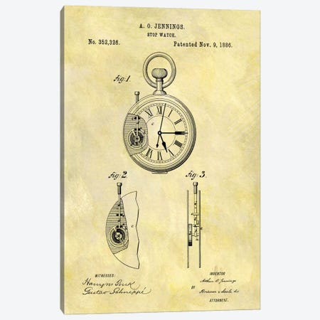 A.O. Jennings Stop Watch Patent Sketch (Foxed) Canvas Print #DSP9} by Dan Sproul Canvas Wall Art