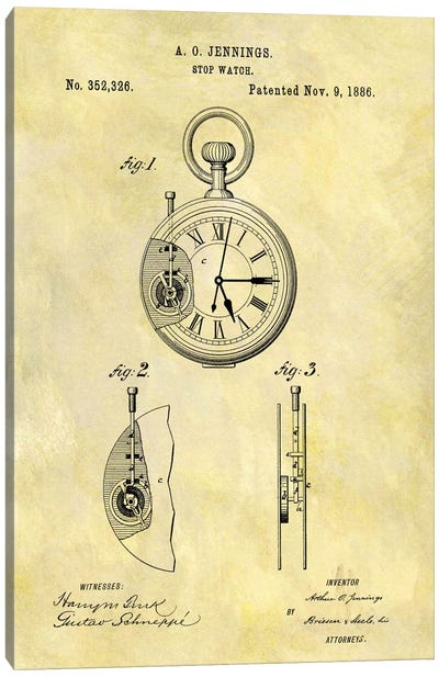 A.O. Jennings Stop Watch Patent Sketch (Foxed) Canvas Art Print