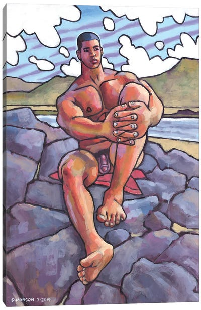 Naked On The Rocks Canvas Art Print