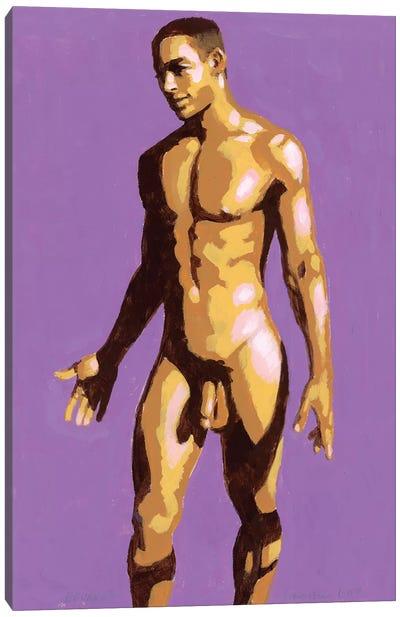 Afro-Brazilian Boy On Purple Background Canvas Art Print