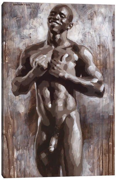 Joyful Black Male Nude Canvas Art Print