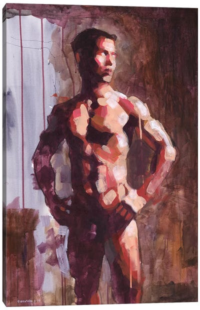 Asian Male Nude In Cool Light Canvas Art Print